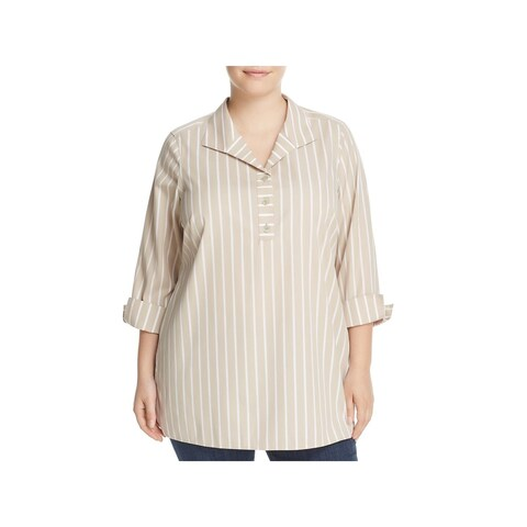 Foxcroft Womens Plus Blouse Striped Cuff Sleeves