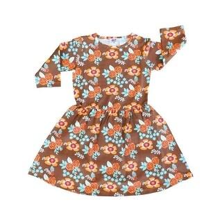 AnnLoren Girls Gold Fall Floral Print Long Sleeve Swing Dress