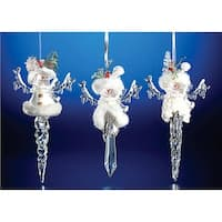 "Club Pack of 12 Icy Crystal Christmas Snowman Icicle Ornaments 7.8"" - CLEAR"