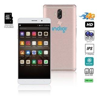 Indigi 6inch 2017 4G LTE Unlocked Android 7 SmartPhone [2SIM + Octa-CORE + Fingerprint Scan] (Rose Gold) + 32gb microSD
