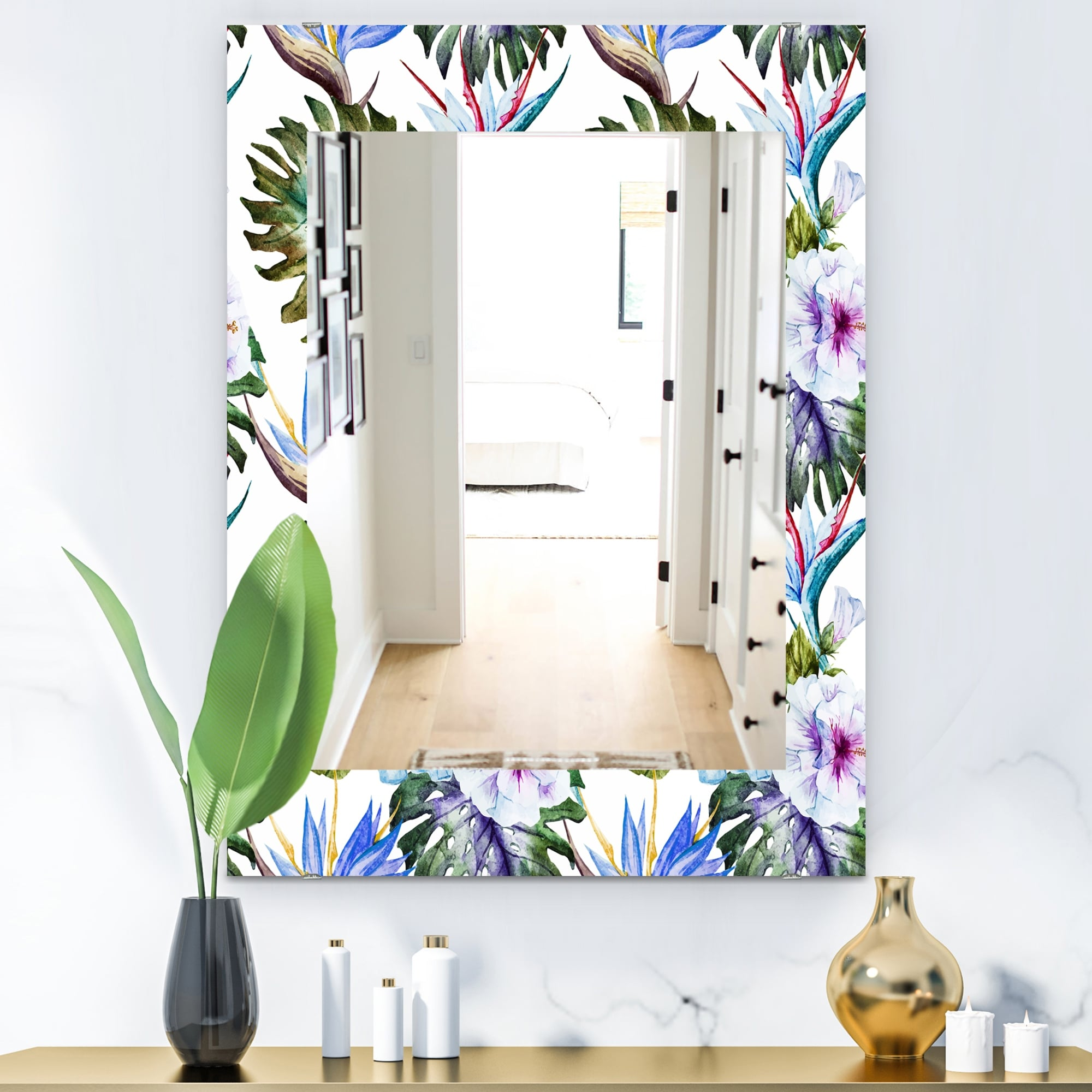 Designart Tropical Mood Foliage 18 Bohemian And Eclectic Mirror Vanity Mirror Overstock 28558356