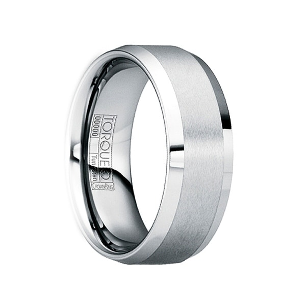 GRATIANUS Beveled Tungsten Carbide Wedding Ring with Brushed Center by Crown Ring - 6mm