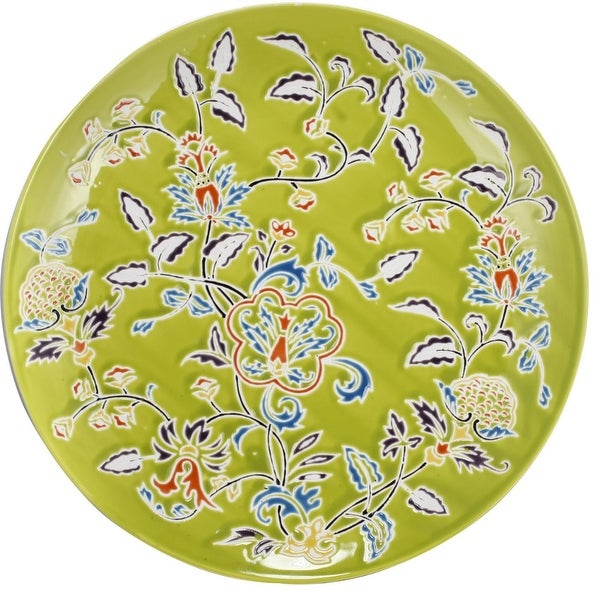 Floral Patterned Ceramic Decorative Plate In Round Shape, Multicolor