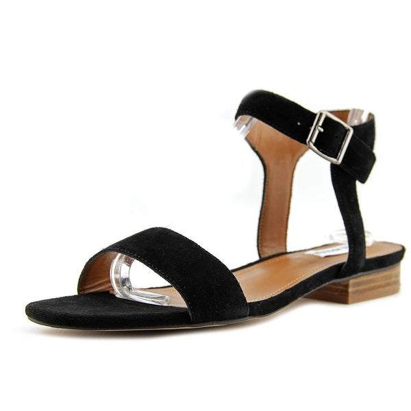 Steve Madden Rusette Women Open Toe Suede Black Sandals