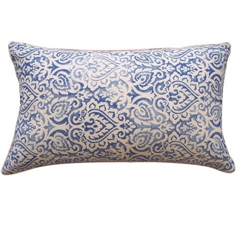 Jiti Blue Ikat Traditional Sunbrella Outdoor Pillows - 12 x 20