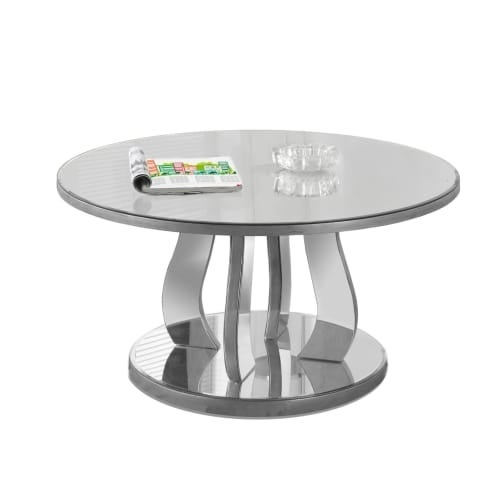 Monarch Specialties I 3725 36 Inch Diameter Glass Coffee Table