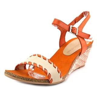 Eric Michael Marlo Women Open Toe Leather Orange Wedge Sandal