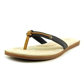 Sperry Top Sider Calla Women Open Toe Leather Black Flip Flop Sandal
