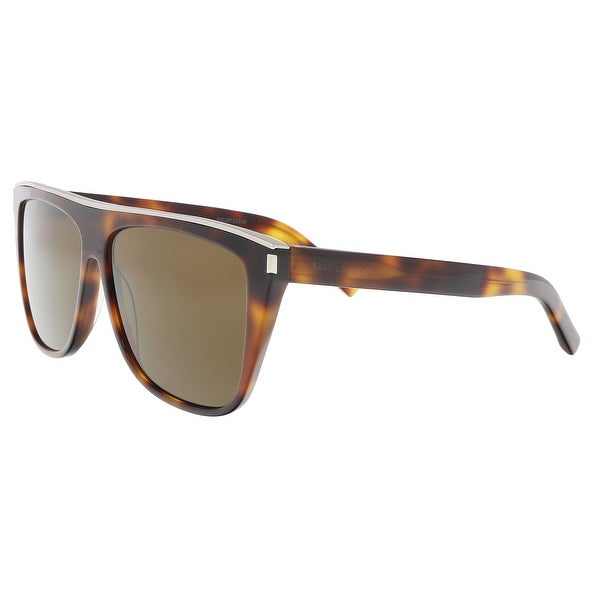 Shop Saint Laurent SL 1 COMBI-003 Havana Rectangle Sunglasses - 59 ... 7f249578b309
