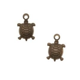 Vintaj Natural Brass Cute Teensie Turtle Charms 6mm (2)