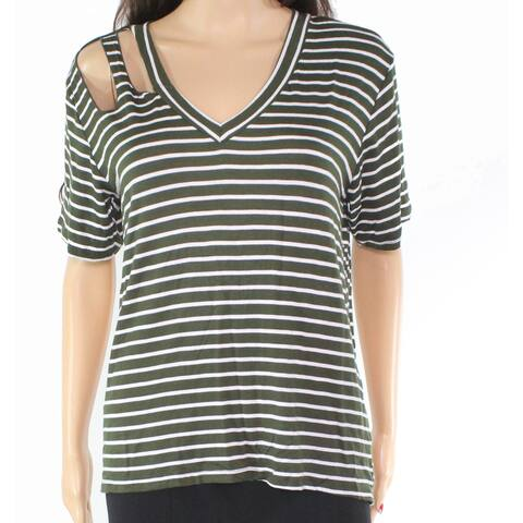 Ultra Flirt Women's Top Blouse White Green Small S Knit Stripe Cutout