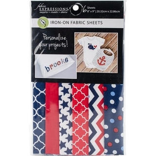 """Fabric Editions Fusible Sheets 8""""X9"""" 6/Pkg-Red, White & Blue"""