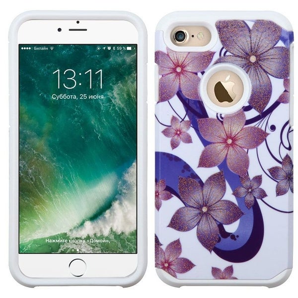 Insten Purple/ White Hibiscus Flower Romance Hard PC/ Silicone Dual Layer Hybrid Rubberized Matte Case Cover For Apple iPhone 7