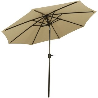 Sunnydaze 9-Foot Aluminum Sunbrella Market Umbrella - Auto Tilt - Color Options