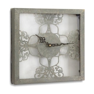 New Romance Textured Gray Fretwork Metal and Glass Wall Clock 12""