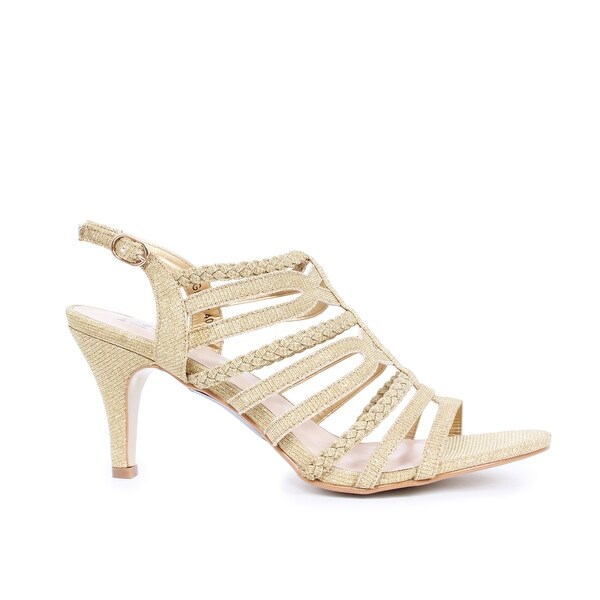 Braded Metallic Low-Heel Open Toe Pump