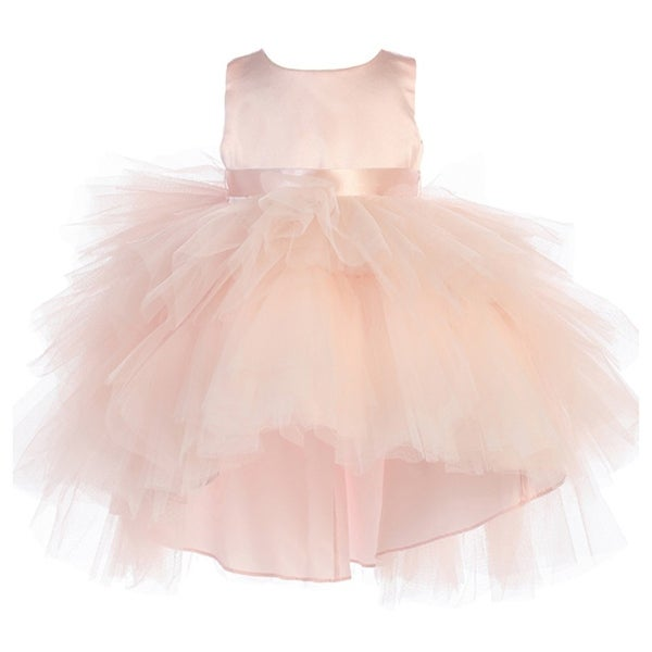 Baby Girls Blush Hi-Low Multi Level Ruffle Tutu Flower Girl Dress