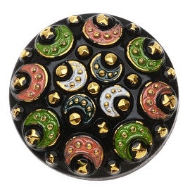 Czech Glass Flat Back Button Cabochons, Round with Bali Moon Design 27mm, 1 Piece, Multi Color