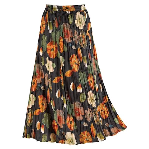La Cera Women's Floral Red/Black Reversible Skirt - Cotton Crinkle Broom Skirt - Black