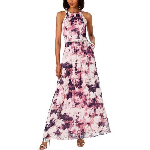 SLNY Womens Evening Dress Embellished Halter - Pink Multi