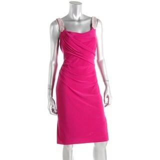 Lauren Ralph Lauren Womens Afiya Cocktail Dress Matte Jersey Embellished