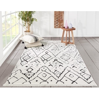 "Momeni Monaco Polyester and Polypropylene Machine Made Ivory Area Rug - 9'10"" x 12'10"""