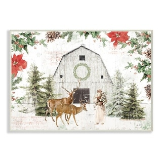 Link to Stupell Industries Rustic Holiday Barn Animals Seasonal Christmas Winter  Wood Wall Art Similar Items in Christmas Decorations