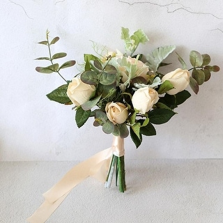 Wedding Bouquet Champagne Rose Green Leaf Bridesmaid Bouquet - White