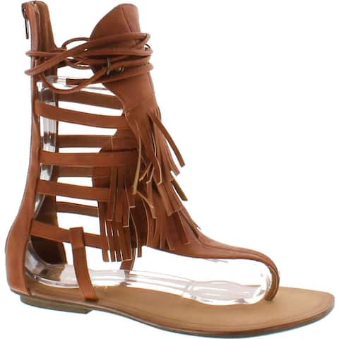 1744bbc58ef2 Liliana Avis-4 Women s Flat Lace Up 3 Layers Fringe Flip Flop Gladiator  Sandal