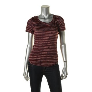 Free People Womens Modal Blend Striped Pullover Top - L