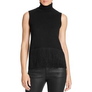 Magaschoni Womens Turtleneck Sweater Cashmere Fringe
