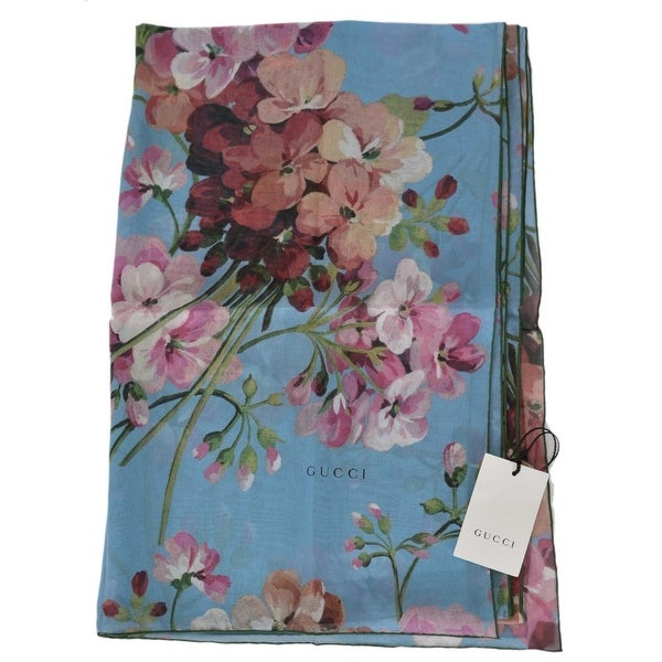 772019f6a Gucci Women's 404038 Silk Georgette Floral Blooms Large Scarf - 78