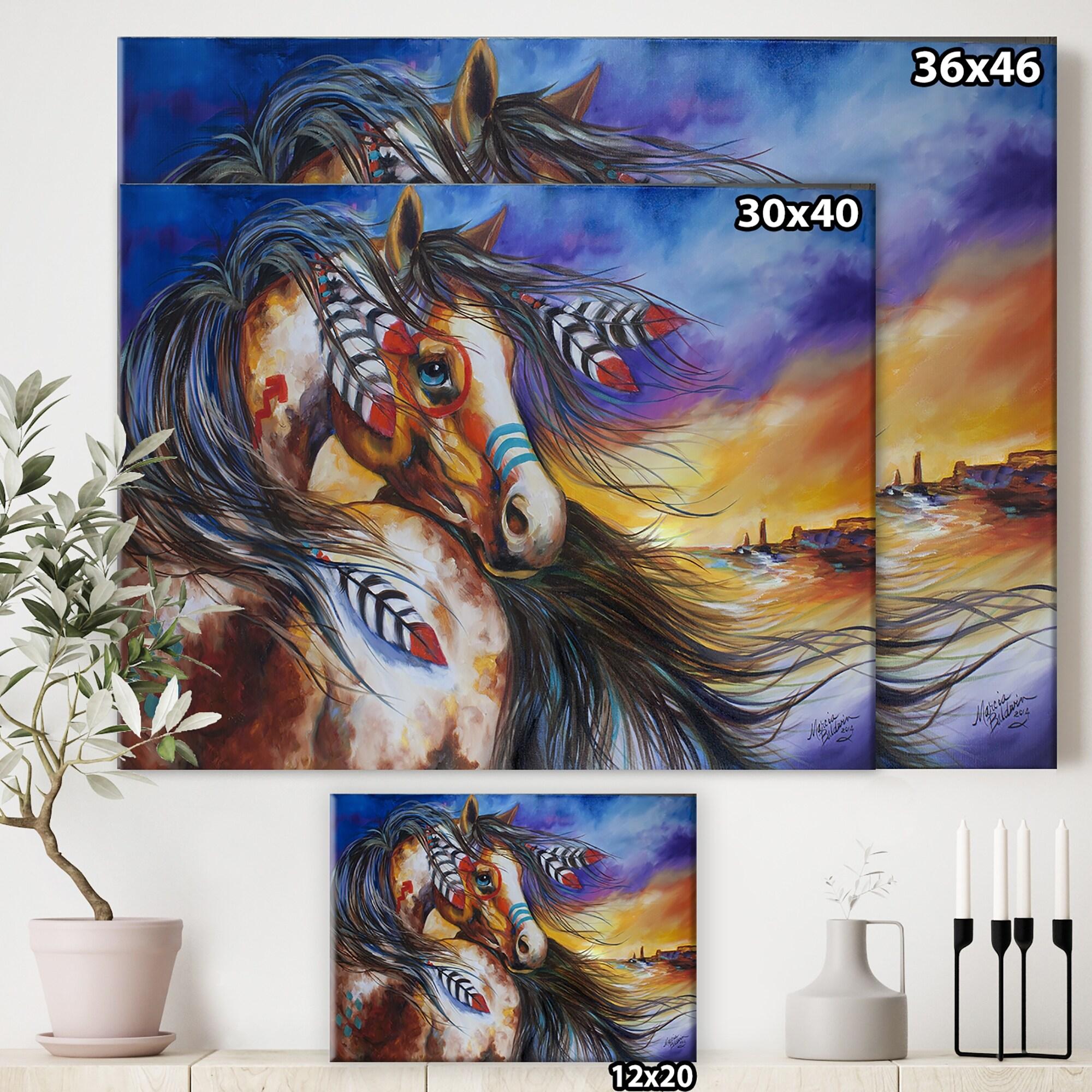 Designart 5 Feathers Indian War Horse Cottage Canvas Wall Art Overstock 27777512