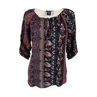 Stoosh Juniors' Tab Sleeve Crochet Back Peasant Top - black/wine/teal