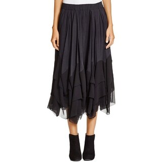 Pure DKNY Womens Petites Tiered Skirt Silk Blend Pleated