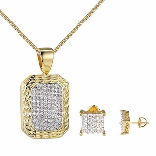 """14k Gold Tone Dog Tag Pendant Princess Cut Earring 10mm Studs Iced Out 24"""" Chain"""