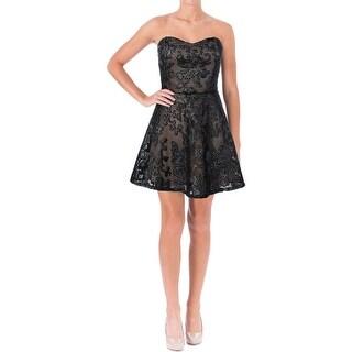 Mystic Womens Faux Leather Pattern Mini Dress