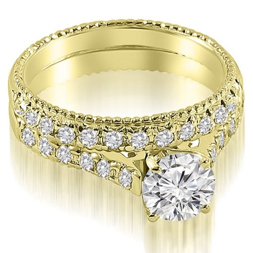 1.55 cttw. 14K Yellow Gold Vintage Cathedral Round Cut Diamond Bridal Set