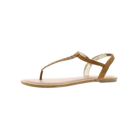 Material Girl Womens Roesia Flat Sandals Faux Suede Thong