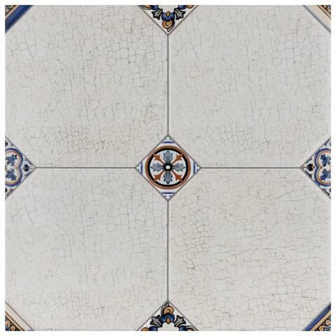 SomerTile 13.125x13.125-inch Huerta Jet Blanco Ceramic Floor and Wall Tile