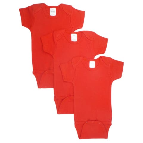 "Pack of 3 Red Medium Interlock Short Sleeve Bodysuit Onesies for 18 to 24 Months, 6"""