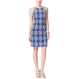 Nine West NEW Blue White Women's Size 18 Sheath Lace Embellished Dress