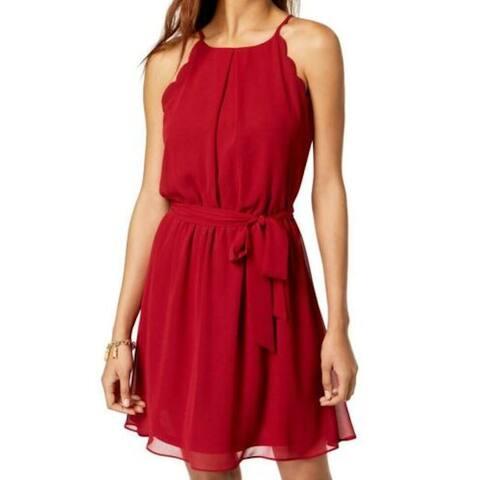 BCX Womens Red Spaghetti Strap Jewel Neck Mini Sheath Dress Size L