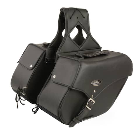Medium Black Pac Throw Over Slant Motorcycle Saddlebags - 12.5 X 17 X 12 inches