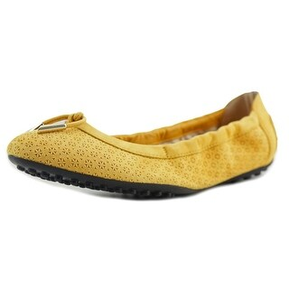 Tod's Ballerina Dee Piping + Laccetto Women Round Toe Suede Yellow Ballet Flats
