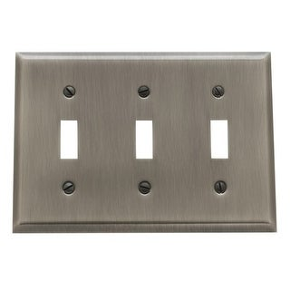 Baldwin 4770.CD Beveled Edge Solid Brass Triple Toggle Switchplate (More options available)