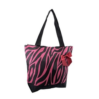 Hot Pink and Black Zebra Tote Bag with Burgundy Accent Bow