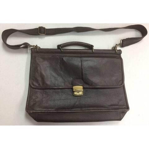 Zara Brown Leather Laptop Satchel Handbag