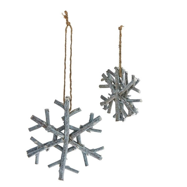 Pack of 6 Handmade Country Rustic Gray Glitter Twig Snowflake Christmas Ornaments 4""