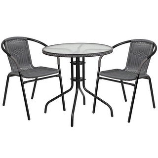 Skovde 3pcs Round 28'' Glass Metal Table w/2 Gray Rattan Stack Chairs